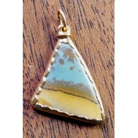 Original Owyhee Gem Jasper and 14 Karat Gold Pendant